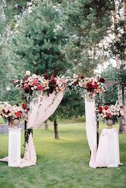 Gorgeous Marsalaburgundy And Pink Floral Outdoor Wedding Arch Ideas