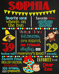 Curious George Toddler Bedding by Curious George Birthday Chalkboard Poster Digital File