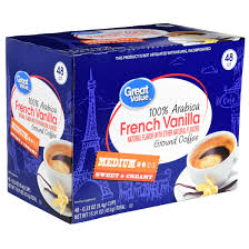 Great Value French Vanilla Ground Coffee Single Serve Cups Medium Roast 48 Count