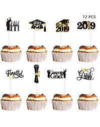 Amosfun 72PCS Graduation Cupcake Toppers 2019 Party Decorations Cake Topper Picks Toothpick Class Of