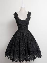 A Line Scalloped Edge Knee Length 50s Vintage Black Lace Prom Homecoming Dress