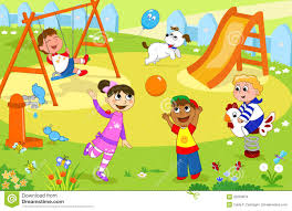 Download Smiling Kids Playing At The Playground Stock Vector