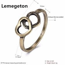 Lemegeton Double Hearts Engagement Rings Personalized Jewelry For Women Love Simple Vintage Style