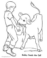 Printable Free Farm Calf Coloring Page