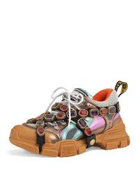 Gucci Metallic Hiker Sneakers With Jeweled Strap