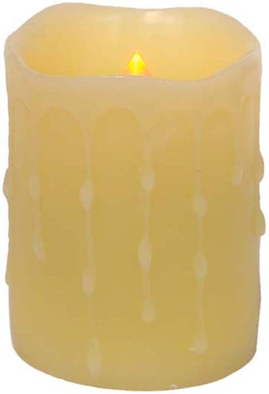 Melrose Battery Operated­ LED Wax Dripping Pillar Candles - 10cm