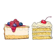 Hand drawn desserts pieces slices of cheesecake and layered vanilla cake sketch style vector illustration isolated on white background Realistic hand