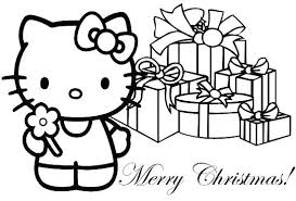 Christmas Kitten Coloring Pages Wonderful Cat Hello Kitty Merry Sheets Free P
