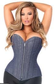 size denim blue steel boned overbust corset w zipper