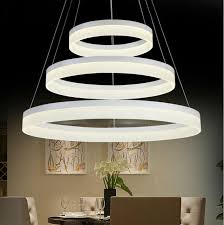 For Restaurant Foyer Bedroom Dinning Room Round Ring LED Hanging Lamp Circular PMMA Acrylic Modern