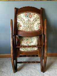 Antique Folding Rocking/Sewing Chair W/ Victorian Tapestry For Sale ... Custom Made Antique Oak Rocking Chair By Jp Designbuildrepair Vintage With Pressed Back For Sale At 1stdibs Cane Seat Elegant Design Home Interior With 18 Wooden Childs Barnwood Etsy Hindoro Teakwood Rattan Wicker Windsor Chairs Early Century Yew Wood And Elm Comb An Handcarved Skeleton Lincoln Value Brilliant Best Superior Awesome Used In Photo Concept