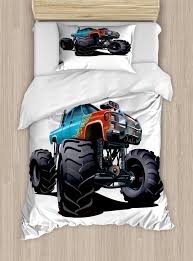 100 Monster Truck Bedroom Duvet Cover Set Twin Size Offroad Sports Theme