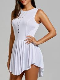 Asymmetrical Short Sleeveless Pleated Dress