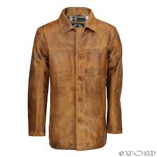 mens vintage real leather black tan brown classic reefer jacket