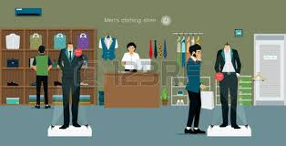 Mens Clothing Store With Salespeople And Customers Royalty Free Cliparts Vectors Stock Illustration Image 56404730