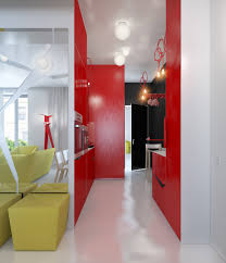 Yellow Black And Red Living Room Ideas by Small Apartment Zinging With Color