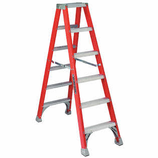 Louisville Ladder Fiberglass Twin Stepladder - 6'