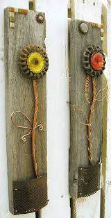 Copper Wall Art Home Decor Colorful Rustic Floral Set Of 2 Flower