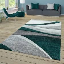 wohnzimmer teppich kurzflor mit wellen muster in dunkelgrau hellgrau grün größe 80x150 cm