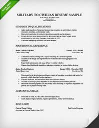 11 Army To Civilian Resume Examples
