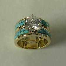 Gold and Turquoise Engagement Wedding Set Love the engagement