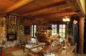 Astounding Country Cottage Interior Ideas With Stone Walls And Leather Sofa