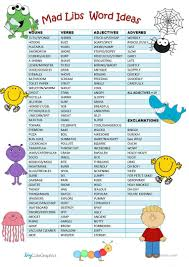 Halloween Mad Libs For 3rd Grade by Image Result For Mad Lib Exclamation Word List Halloween Treats