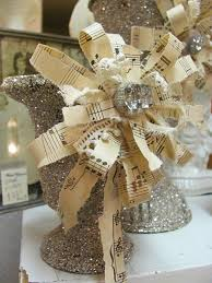 Glittery Sheet Music Bows For Decor Or Wrapping