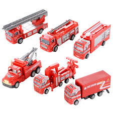 100 Model Fire Trucks 6PCS Diecast Metal Car S Play Set Rescue Vehicles