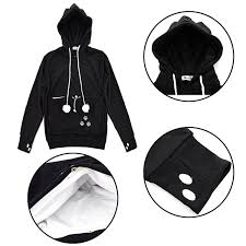 cat hoodies xiongyi unisex mewgaroo pet holder cat eared kangaroo pouch