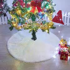Marry Acting Luxury Faux Fur Christmas Tree Skirt 36 Inches Soft Snow White Mat