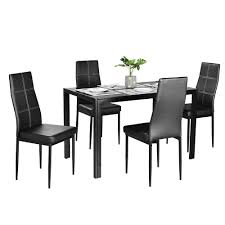 Bonnlo Modern 5 Pieces Dining Table Set Glass Top Dining Table And ... Ashley Signature Design Charrell 5 Piece Round Ding Table Set With Belfort Essentials Camelia White Rectangular Glass Hanover Traditions 5piece Patio Outdoor 4cast F2094 F1052 Bbs Fniture Store Coaster Shoemaker Value City Interni Mirage Clear Top Tables A Modern Practical Option Metal Upholstered Chairs Room Black Kitchen High Tall Marble On Carousell
