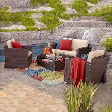 Patio Furniture Conversation Sets Home Depot by Shop Thy Hom Bahia 4 Piece Wicker Patio Conversation Set At Lowes Com