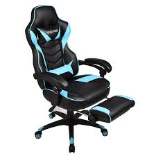 Gaming Chair For Adults With Footrest,High Back Swivel Computer Office  Chair With Pillows And Lumber Support, Black +Light Blue