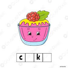 stock vector wörter puzzle antwort kuchen bildung entwicklung arbeitsblatt lernspiel für kinder farbe aktivität seite puzzle für kinder englisch