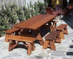 heritage picnic tables built to last decades forever redwood