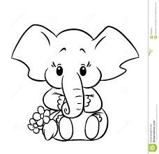 Little Baby Elephant Colouring Page