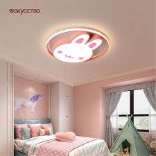 nordic ins kinder romantische rosa kaninchen runde decke le mädchen schlafzimmer deco kinder home indoor led dimmen beleuchtung leuchte