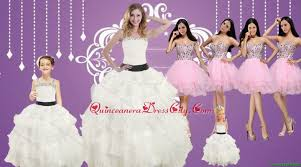 strapless beading white quinceanera dress and baby pink sweetheart