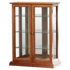 narrow corner curio cabinet or wall display with light oak and