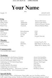 Sample Talent Resume Actors Free Acting Template Example Actor Beginner Examples And