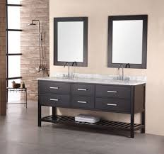 Two Faucet Trough Bathroom Sink by Long Black Sink On The Light Brown Wooden Base Having Drawers