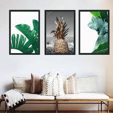 nordischen stil goldene ananas poster gedruckt kunst einfache frische blatt wandbilder schlafzimmer leinwand malen modularen bilder kein gestaltet