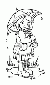 Stylish Decoration Umbrella Coloring Page Girl And For Kids Spring Pages