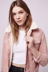 moto pink cord borg western jacket topshop