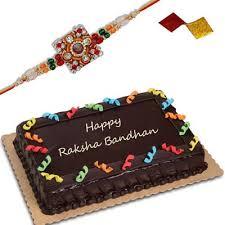 Fancy Rakhi FR 8240 Single Rakhi Chocolate cake 1kg send Rakhi with Cakes to India Hyderabad