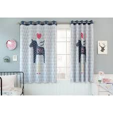 Baby Blue Animal Print Polyester Short Kids Bay Window Curtains