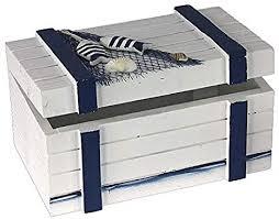 decopartners eu maritime deko holzkiste blau weiß 20 cm mit muscheldekor badezimmer dekoration