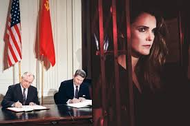 Soviet Leader Mikhail Gorbachev And US President Ronald Reagan Sign A Treaty Eliminating