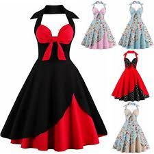 UK Womens Vintage Halter Style 1950s 60s Rockabilly Evening Prom Swing Dress